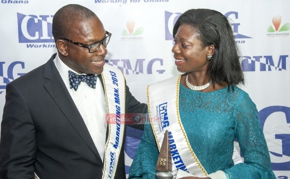 Mr Edward Effah, MD, Fidelity Bank and Mrs Kate Quartey Papafio, CEO of Reroy Cables, CIMG Marketing Man and Marketing Woman of the year respectively sharing their joy after the event. ? ? ?