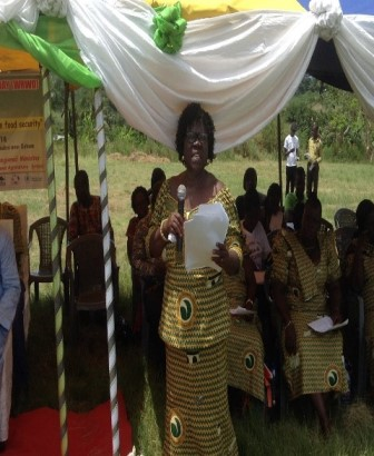 Mrs Lydia Sasu-Making a presentation at the 2014 World Rural Women?s Day at Asuboi