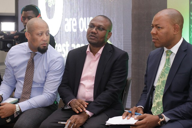 Director, Customer Care, Etisalat Nigeria Plato Syrimis; Director, Channel Sales, Etisalat Nigeria, Bisi Idowu and Director, Business Segment, Etisalat Nigeria, Lucas Dada at the Customer Forum organised for Corporate Customers in Abuja, recently.