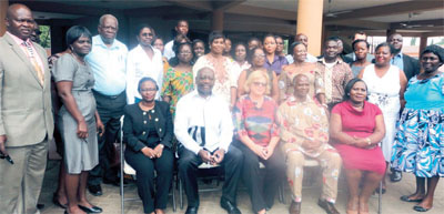 From left seated: Dr Magda Robelo, Dr Kwaku Agyemang, H. E Hege Hertzberg with the Ebola country response team