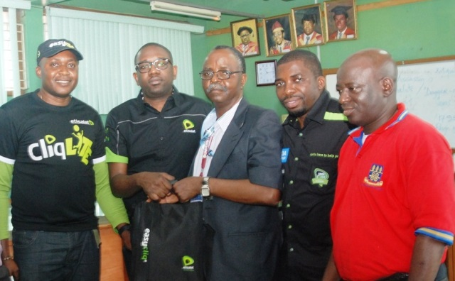(L-R): Head, Youth Segment, Elvis Daniel; Director, Consumer Segment, Oluwole Rawa both of Etisalat Nigeria; Dean, Faculty of Arts, University of Lagos, Professor Abayomi Akinyeye; Acting Director, Retail Sales, Etisalat Nigeria, Lou Odunuga; and Sub-Dean, Faculty of Arts, University of Lagos, Dr. Ayo Yusuff, during the launch of Etisalat Expereince Centre called Cliqhub, at University of Lagos, on 5th November, 2014.