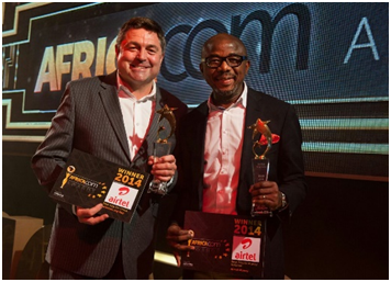 Andre Beyers, Chief Marketing Officer, Airtel Africa &ChidiOkpala, Director and Head of Airtel Money, with the award