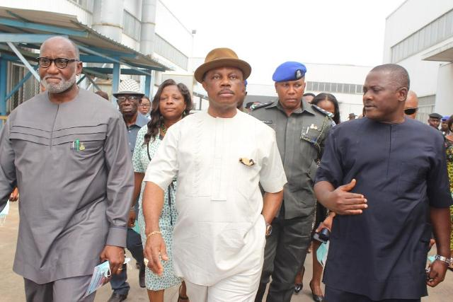 Hon Oseloka Obaze, Secretary to the State Government, Chief Innocent Chukwuma, Chairman, Innoson Vehicle Manufacturing Company, Chief Willie Obiano, Governor of Anambra State during a tour of Innoson Vehicle manufacturing Plant in Nnewi...Monday