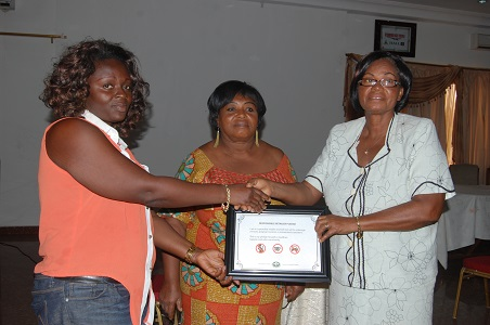 A participant receiving a certificate