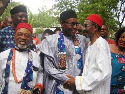 Presidential nominee of the All Progressives Congress (APC) General Muhammadu Buhari (Rtd) with Senator Chris Ngige of the APC and Chief Chukwuma Azikiwe, the eldest son of the first President of Nigeria, late Dr. Nnamdi Azikiwe at a meeting on November 15, 2014, in the house of the Azikiwe family in Onitsha, Anambra State.?