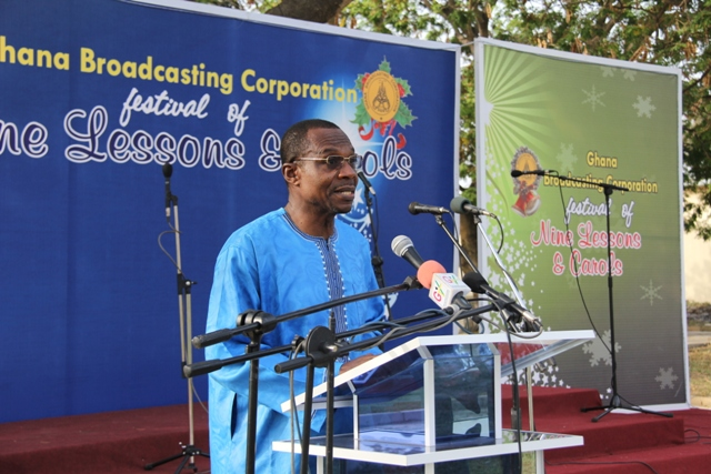 Dr Roland Affail Monney, Director of Radio at GBC, reading a lesson