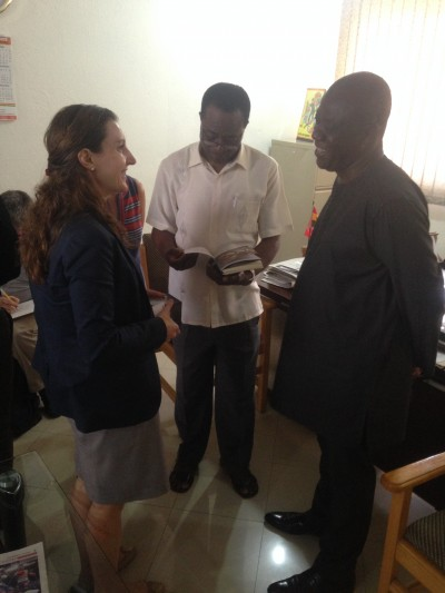 Dr. Musheibu Mohammed Alfa, Deputy Upper West Regional Minister (right) interacts with officials from the German Embassy