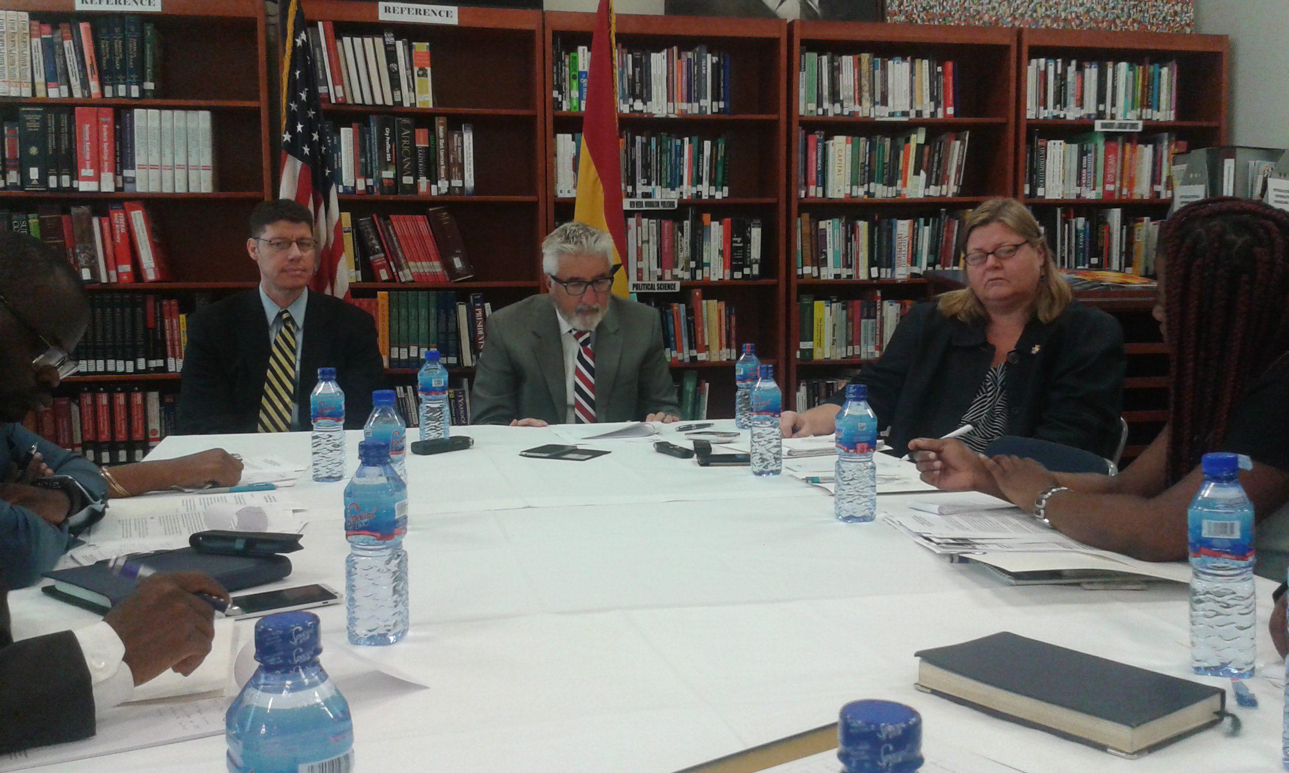 Mr Gene A. Cretz, Ambassador of the United States to Ghana, addressing the press