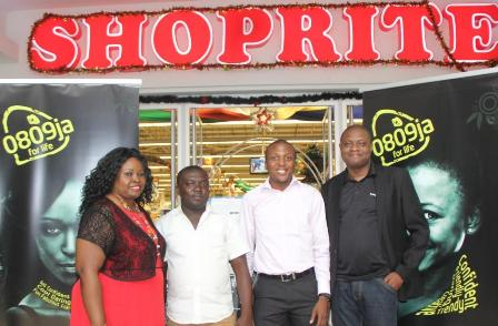 Regional Corporate Sales Manager North, Etisalat Nigeria, Victoria Ibeji; Participants of the Etisalat December Shopping Dash, Ernest Abu and Ibrahim Magaji; and Sector Manager, Oil and Gas, Business Segment, Etisalat Nigeria, Olayiwola Akinwunmi at the Abuja Edition of the 2014 EtisalatShopping Dash which held at the Shoprite Store, Apo, Abuja last week