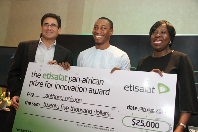 Chief Executive Officer, Etisalat Nigeria, Matthew Willsher; Winner, Winner, Etisalat Prize for Innovation (Product/Service Category), Anthony Oniwon and Member, Board of Innovators, Etisalat Pan-African Prize for Innovation, Funke Opeke, at the Etisalat Pan-African Prize for Innovation media reception.