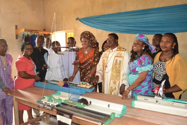 Wife of Anambra State governor, Chief Mrs. Ebelechukwu Obiano, Catholic Bishop of Awka Diocese, Most Rev. Dr. Paulinus Ezeokafor, Anambra State Commissioner for Education, Dr. Mrs. Kate Omenugha, Representative of the wife of Anaocha Local Government Area, Mrs. Chioma Ejiofor, and Director of VOTEC centre, Rev. Fr. Francis Michael Enyisiobi at the Commissioning of the Bakery and Knitting Centre of the Saint John?s Vocational and Technical (VOTEC), Neni, Anaocha Local Government Area, Anambra State.