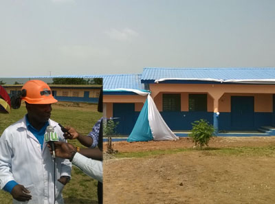 The newly-built classroom block, Inset: Kofi Anokye