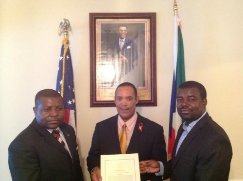 Victor Mooney with H.E. Roman Obama, Charge de Affairs and Dr. Jose MBA Nguema, Second Secretary at Equatorial Guinea Embassy to the United States