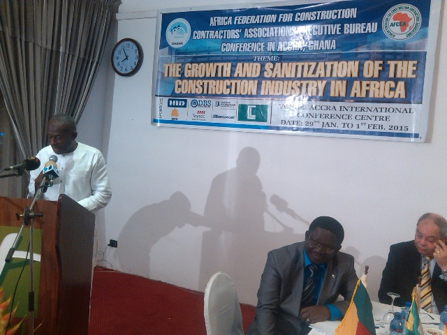 Alhaji Collins Dauda, Minister of Water Resources, Works and Housing addressing the participants at the Executive Bureau Meeting of the African Federation for Construction Contractors Associations in Accra