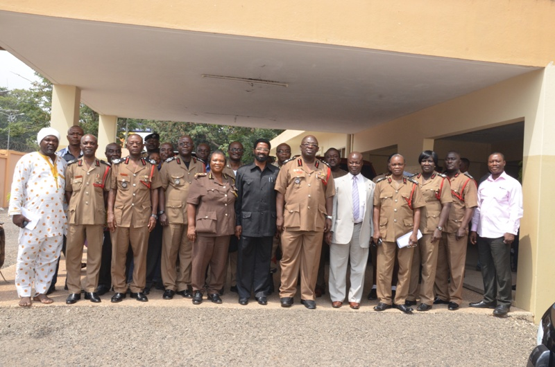 Dr Vanderpuije in a group picture with the Chief Fire Officer