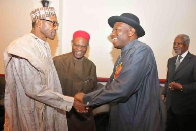 RS INSECURITY 001 GENERAL BUHARI AND JONATHAN DURING THE ABUJA PEACE ACCORD
