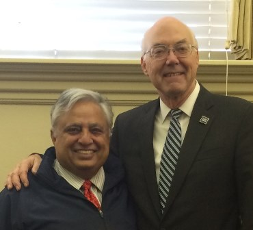 Rajan Zed (left) with Dr. Marc A. Johnson after the meeting discussing Interfaith Space.