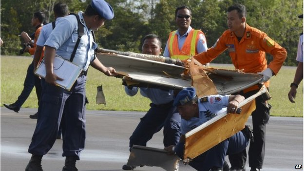 Debris from the plane has been brought to shore but the fuselage is still missing