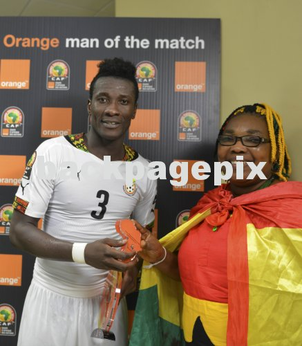 Asamoah Gyan of Ghana is Orange Man of the Match during the 2015 Africa Cup of Nations football match between Ghana and Algeria at the Mongomo Stadium in Mongomo, Equatorial Guinea on 23 January 2015 ©Barry Aldworth/BackpagePix