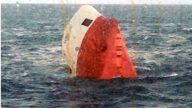 Eight people are reported to have been on board the Cypriot-registered Cemfjord, a cargo ship carrying cement.