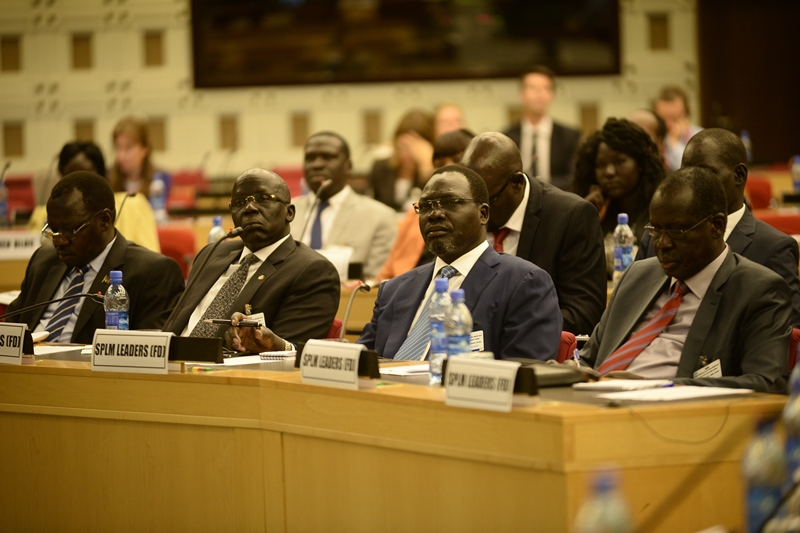 Representatives of Sudan People's Liberation Movement (SPLM) follow proceedings during Phase Three (Final Session) of the South Sudan peace talks in Addis Ababa, capital of Ethiopia, Feb. 23, 2015. The final session of the IGAD-led peace negotiations kicked off here on Monday. (Xinhua/Michael Tewelde)