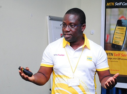 Mr Lawrence Akosen, Acting Customer Corporate Executive, MTN, addressing the media