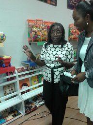 Mrs Amissah Arthur with Ewurabena Bram-Larbi touring the play land