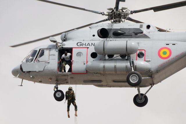 Ghana's Special forces perform airborne landing at the Independence Square in Accra, Ghana, on March 6, 2015, marking the 58th anniversary of Ghana's Independence. British colony Gold Coast declared her independence on March 6, 1957 and renamed herself Ghana. (Xinhua/Lin Xiaowei)