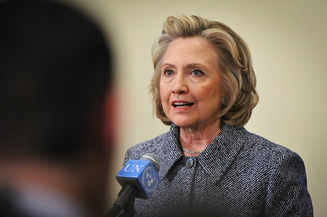 """Former U.S. Secretary of State Hillary Clinton addresses the press after attending the annual Women's Empowerment Principles event at the UN headquarters in New York on March 10, 2015. Hillary Rodham Clinton, a potential 2016 U.S. presidential contender, on Tuesday defended her use of personal email account for official communications, saying it was """"for convenience"""" and """"allowed"""". (Xinhua/Niu Xiaolei)"""