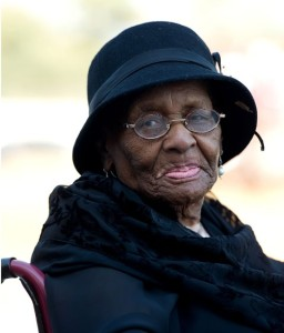 Rebecca Kotane, widow of South African anti-apartheid hero Moses Kotane, attends her husband's funeral service in Pella, North West Province, South Africa, on March 14, 2015. The mortal remains of South African anti-apartheid hero Moses Kotane was reburied on Saturday, with a grand ceremony attended by South Africa's President Jacob Zuma. (Xinhua/DOC/Ntswe Mokoena)