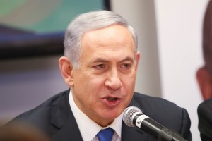 "Israeli Prime Minister Benjamin Netanyahu addresses a campaign trail in Or Yehuda, Israel, on March 16, 2015. Israeli Prime Minister Benjamin Netanyahu told an Israeli news website Monday that if he is elected in Tuesday's national elections, ""there will be no Palestinian state."" (Xinhua/JINI/Dani Maron)"
