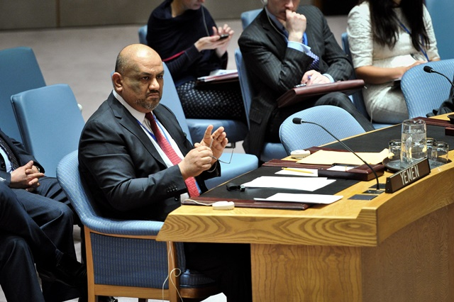Yemen's Permanent Representative to the UN Khaled Hussein Mohamed Alyemany looks on during an emergency meeting of the UN Security Council regarding the situation of Yemen, at the UN headquarters in New York, on March 22, 2015. The UN Security Council on Sunday adopted a presidential statement on Yemen, voicing support for Yemeni President Abdo Rabbo Mansour Hadi and calling upon all parties to refrain from taking actions that undermine the legitimacy of the president. (Xinhua/Niu Xiaolei)