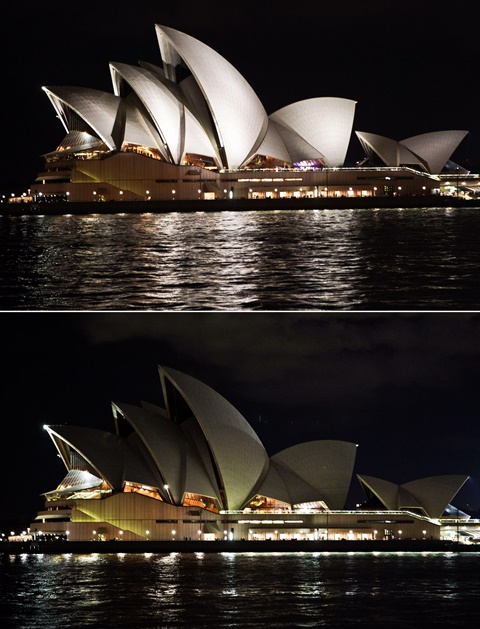 A combination photo shows the Sydney Opera House with lights on (above) and off (below) as to signal the start of the Earth Hour campaign in Sydney, Australia, March 28, 2015. (Xinhua/Jin Linpeng)(azp)