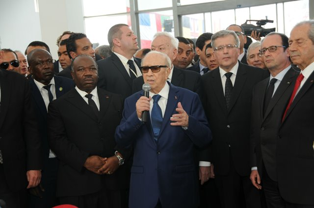 "Tunisian President Beji Caid Essebsi(C) delivers a speech at Bardo museum in Tunis, Tunisia, on March 29, 2015. Tunisia held an international anti-terrorism march entitled ""The World is Bardo"" on Sunday, 11 days after the deadly terrorist attack against the Bardo museum. (Xinhua/Adel)"