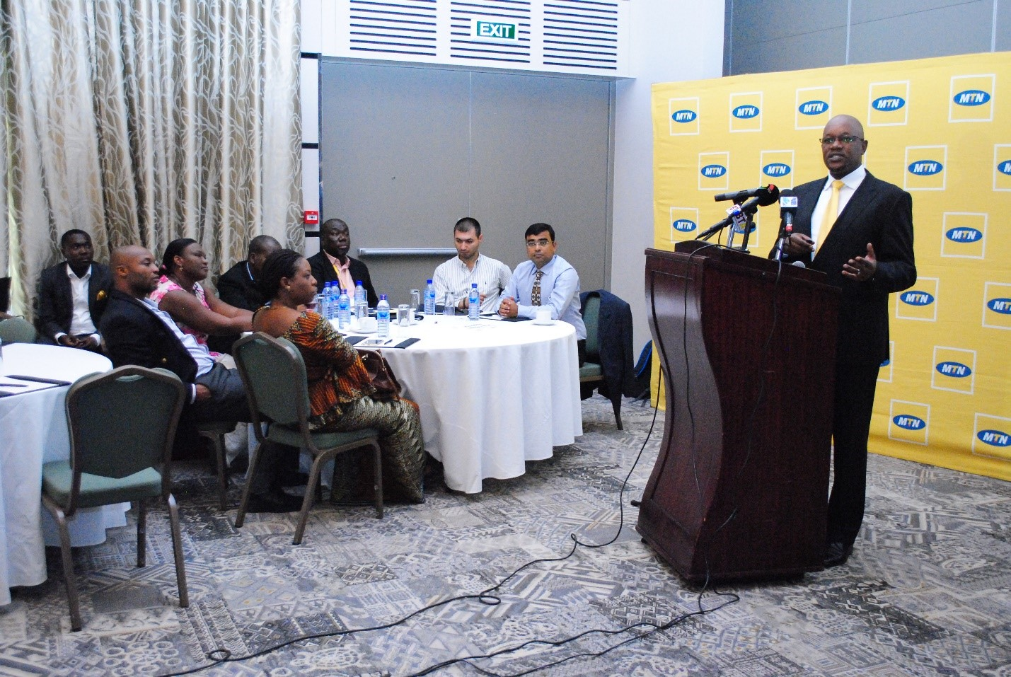 MTN CEO SERAME TAUKOBONG ADDRESSING THE MEDIA AT THE FORUM