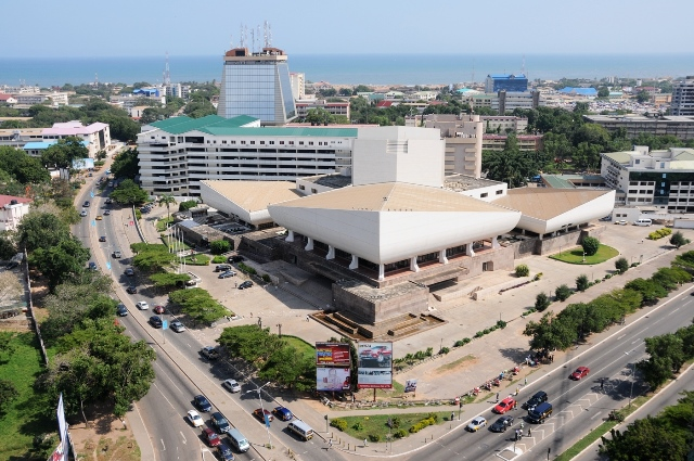 Photo taken on Sept. 15 shows the general outside view of the National Theatre of Ghana in downtown Accra, Ghana. As a landmark in Accra, the National Theatre of Ghana that was completed in 1992, was built under loans by Chinese government. (Xinhua/Lin Xiaowei)