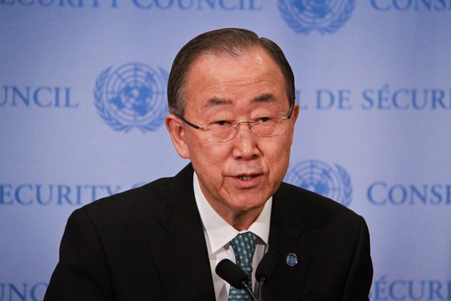 UN Secretary-General Ban Ki-moon addresses the media at the UN headquarters in New York on April 9, 2015. As violence continues to roil in Syria and Yemen, UN Secretary-General Ban Ki-moon on Thursday urged religious leaders and educators to preach to their followers the
