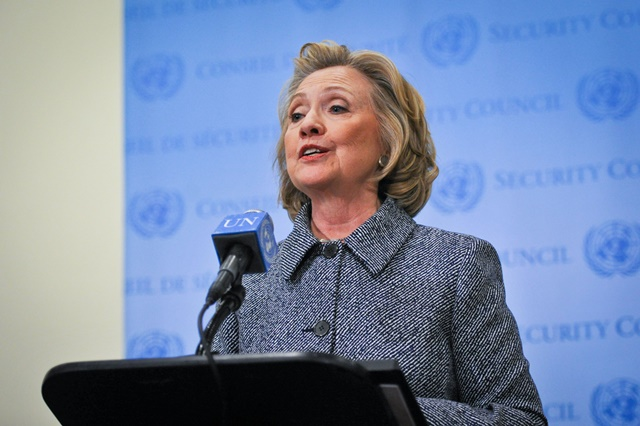 File photo taken on March 10, 2015 shows former U.S. Secretary of State Hillary Clinton addresses the press after attending the annual Women's Empowerment Principles event at the UN headquarters in New York, United States. Hillary announced her bid for 2016 presidential election on Sunday. (Xinhua/Niu Xiaolei)