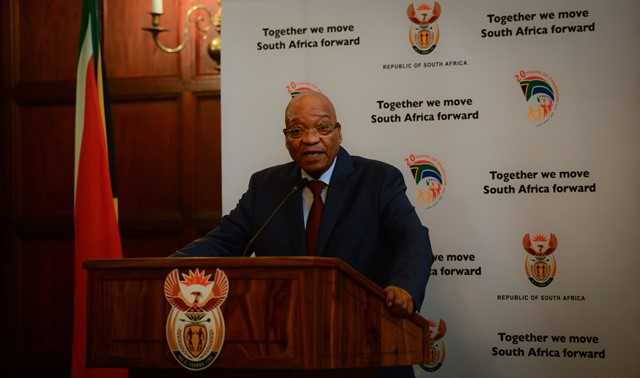 South African President Jacob Zuma addresses a media briefing after meeting with leaders of organizations representing foreigners in Pretoria, South Africa, on April 24, 2015. South African President Jacob Zuma on Friday met with leaders of organizations representing foreigners, assuring them of maximum protection. (Xinhua/Zhai Jianlan)