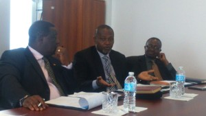 Nii Amasa Namoale (middle) stressing a point, looking on are Kwasi Amoako-Attah (left) and Kwasi Ameyaw Kyeremeh (right)