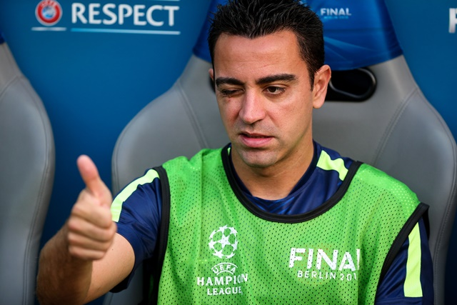 Xavi Hernandez of FC Barcelona reacts prior to the UEFA Champions League final match between Juventus F.C. and FC Barcelona in Berlin, Germany, on June 6, 2015. (Xinhua/Zhang Fan)