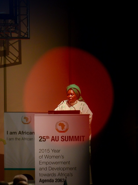 African Union (AU) Commission Chairwoman Nkosazana Dlamini-Zuma delivers a speech during the opening of the 25th AU Summit at Sandton Convention Centre in Johannesburg, South Africa, on June 14, 2015. The AU on Sunday kicked off its 25th summit in Johannesburg, amid high expectations for solutions to resolve a series of challenges. (Xinhua/Zhai Jianlan)