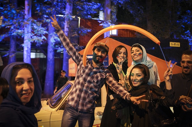 Iranians celebrate the nuclear agreement in Tehran, Iran, on July 14, 2015. The deal ushered in a new era for Iran's relations with the world.