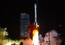 A Long March-3B/Yuanzheng-1 rocket carrying two new-generation satellites for the BeiDou Navigation Satellite System (BDS) blasts off from the Xichang Satellite Launch Center in the southwest China's Sichuan Province, July 25, 2015. China successfully launched two satellites for its indigenous global navigation and positioning network at 8:29 p.m. Beijing Time Saturday, the launch center said. (Xinhua/Zhu Zheng)(mcg)