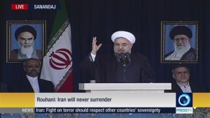 Iran?s President Hassan Rouhani addresses people of the western Iranian province of Kordestan on July 26, 2015.