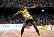 Usain Bolt of Jamaica celebrates after the men's 100m final at the 2015 IAAF World Championships in Beijing, capital of China, on Aug. 23, 2015. (Xinhua/Li Gang)
