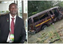 Samuel Nuamah and the accident van