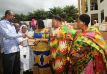 Dr Lordina Mahama presenting medical supplies to the Offinso District hospital, looking is Nana Wiafe Akenten III, Omanhene of Offinso Traditional Area (1)