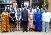 Mr Chukwuemeka Eze (front row 2nd right), the Executive Director, WANEP and Mr Emmanuel Bombande (front row middle), former Executive Director of WANEP in a group photo