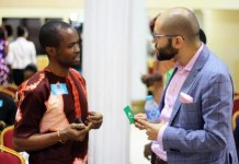 Sefik Bagdadioglu MD Kaymu Networking with an SME operator at the Entrepreneurs Club